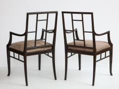 Maison Jansen Pair of Dark Grey Chinoiserie Armchairs by Maison Jansen France 1970s - 1236747