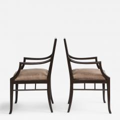 Maison Jansen Pair of Dark Grey Chinoiserie Armchairs by Maison Jansen France 1970s - 1237354