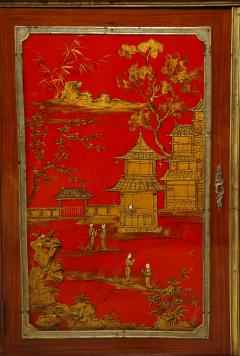 Maison Jansen Pair of French 1940s Transitional Style Red Chinoiserie Cabinets - 1116606