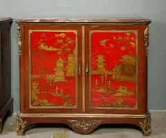 Maison Jansen Pair of French 1940s Transitional Style Red Chinoiserie Cabinets - 1116607