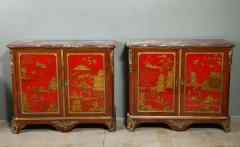 Maison Jansen Pair of French 1940s Transitional Style Red Chinoiserie Cabinets - 1116608