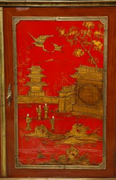 Maison Jansen Pair of French 1940s Transitional Style Red Chinoiserie Cabinets - 1116609