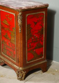 Maison Jansen Pair of French 1940s Transitional Style Red Chinoiserie Cabinets - 1116610