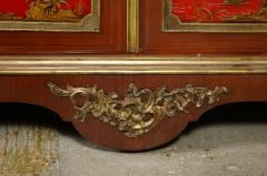 Maison Jansen Pair of French 1940s Transitional Style Red Chinoiserie Cabinets - 1116611