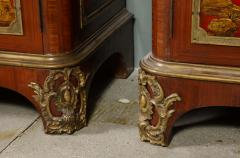 Maison Jansen Pair of French 1940s Transitional Style Red Chinoiserie Cabinets - 1116612