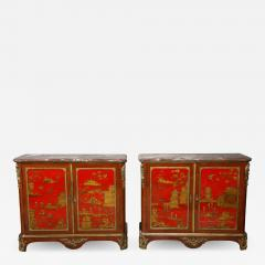 Maison Jansen Pair of French 1940s Transitional Style Red Chinoiserie Cabinets - 1117407