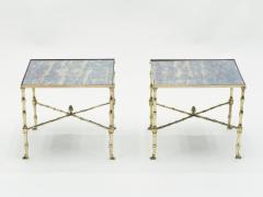 Maison Jansen Pair of French Maison Jansen brass mirrored end tables 1960s - 1545333
