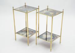 Maison Jansen Pair of French Maison Jansen brass mirrored two tier end tables 1960s - 1114874
