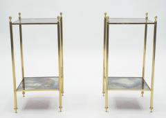 Maison Jansen Pair of French Maison Jansen brass mirrored two tier end tables 1960s - 1114875