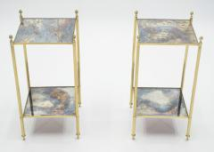 Maison Jansen Pair of French Maison Jansen brass mirrored two tier end tables 1960s - 1114876