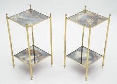Maison Jansen Pair of French Maison Jansen brass mirrored two tier end tables 1960s - 1114877