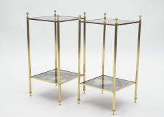Maison Jansen Pair of French Maison Jansen brass mirrored two tier end tables 1960s - 1114879