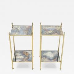 Maison Jansen Pair of French Maison Jansen brass mirrored two tier end tables 1960s - 1115203