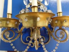 Maison Jansen Pair of French Modern Neoclassical Brass and Crystal Sconces by Maison Jansen - 1844478