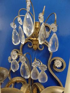 Maison Jansen Pair of French Modern Neoclassical Brass and Crystal Sconces by Maison Jansen - 1844481
