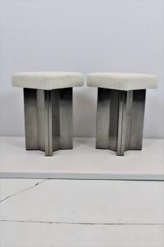 Maison Jansen Pair of Maison Jansen Stainless Steel Stools France 1970s - 1458813
