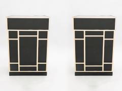 Maison Jansen Pair of Maison Jansen brass black lacquered dry bar elements 1970s - 1928678