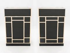 Maison Jansen Pair of Maison Jansen brass black lacquered dry bar elements 1970s - 1928679