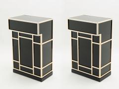 Maison Jansen Pair of Maison Jansen brass black lacquered dry bar elements 1970s - 1928680