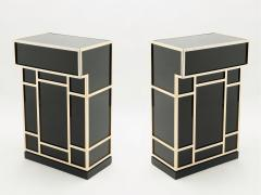Maison Jansen Pair of Maison Jansen brass black lacquered dry bar elements 1970s - 1928681