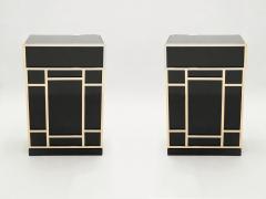 Maison Jansen Pair of Maison Jansen brass black lacquered dry bar elements 1970s - 1928689