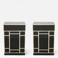 Maison Jansen Pair of Maison Jansen brass black lacquered dry bar elements 1970s - 1929637