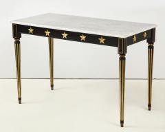 Maison Jansen Pair of Marble Topped Ebonized and Giltwood Consoles by Jansen - 1541792