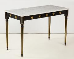 Maison Jansen Pair of Marble Topped Ebonized and Giltwood Consoles by Jansen - 1541793