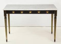 Maison Jansen Pair of Marble Topped Ebonized and Giltwood Consoles by Jansen - 1541796
