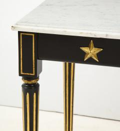 Maison Jansen Pair of Marble Topped Ebonized and Giltwood Consoles by Jansen - 1541798