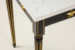 Maison Jansen Pair of Marble Topped Ebonized and Giltwood Consoles by Jansen - 1541801
