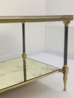 Maison Jansen Pair of Metal Maison Jansen Coffee Tables with Antique Mirrored Glass  - 2066591