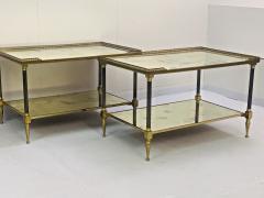 Maison Jansen Pair of Metal Maison Jansen Coffee Tables with Antique Mirrored Glass  - 2066592