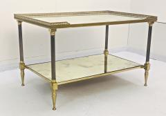 Maison Jansen Pair of Metal Maison Jansen Coffee Tables with Antique Mirrored Glass  - 2066593