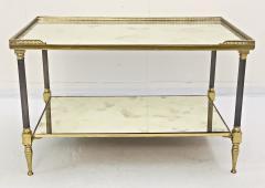 Maison Jansen Pair of Metal Maison Jansen Coffee Tables with Antique Mirrored Glass  - 2066594