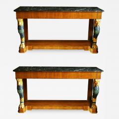 Maison Jansen Pair of Mid 20th Century Regency Style Console Tables with Gilt Monopedia - 516924