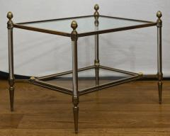 Maison Jansen Pair of XXth Century Maison Jansen Brass Chrome Two Tier Side Tables - 1121209