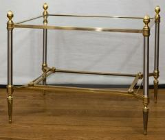 Maison Jansen Pair of XXth Century Maison Jansen Brass Chrome Two Tier Side Tables - 1121210