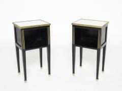 Maison Jansen Pair of stamped Maison Jansen black brass marble nightstands 1950s - 1959263
