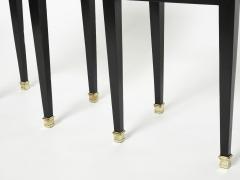 Maison Jansen Pair of stamped Maison Jansen black brass marble nightstands 1950s - 1959269