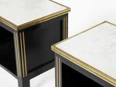 Maison Jansen Pair of stamped Maison Jansen black brass marble nightstands 1950s - 1959270