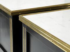 Maison Jansen Pair of stamped Maison Jansen black brass marble nightstands 1950s - 1959271