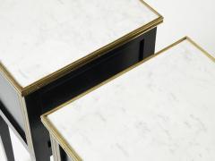 Maison Jansen Pair of stamped Maison Jansen black brass marble nightstands 1950s - 1959272