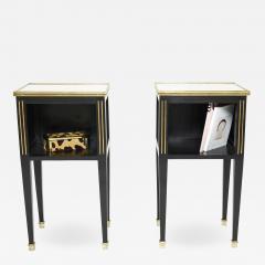 Maison Jansen Pair of stamped Maison Jansen black brass marble nightstands 1950s - 1962618