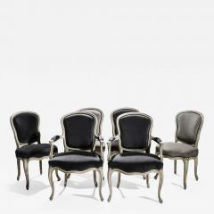 Maison Jansen Rare Set of Six Stamped Maison Jansen Louis XV Chairs and Armchairs 1940s - 1839449