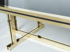 Maison Jansen Rare brass black opaline glass Maison Jansen dining table 1970s - 1919364