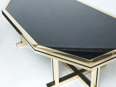 Maison Jansen Rare brass black opaline glass Maison Jansen dining table 1970s - 1919365