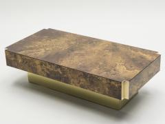 Maison Jansen Rare golden lacquer and brass Maison Jansen coffee table 1970 s - 994614