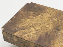 Maison Jansen Rare golden lacquer and brass Maison Jansen coffee table 1970 s - 994619