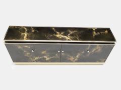 Maison Jansen Rare golden lacquer and brass Maison Jansen sideboard 1970s - 1054909